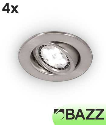 Bazz FLEX3 Series Low-Profile 7W LED Recessed Light Brushed Chrome Trim (4-pack) 313LP7B4