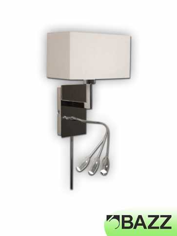 bazz hilo chrome wall light w/ led reading lamp m2011l