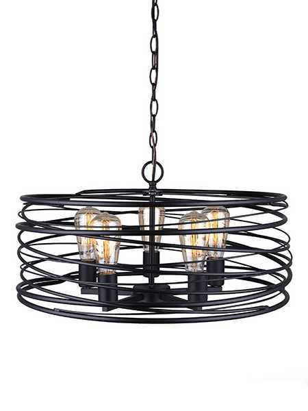 canarm ryland ipl411b05bk22 5 lights matte black chain pendant