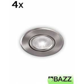 bazz 510 series 8w led recessed light brushed chrome (4-pack) 510l8bm4